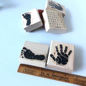 Baby feet and Hands Rubber wood block stamps